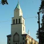Kościół p.w. Jana Chrzciciela w Orzeszu w którym spłonął dach
