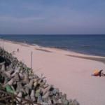 Pusta plaża przed zawodami