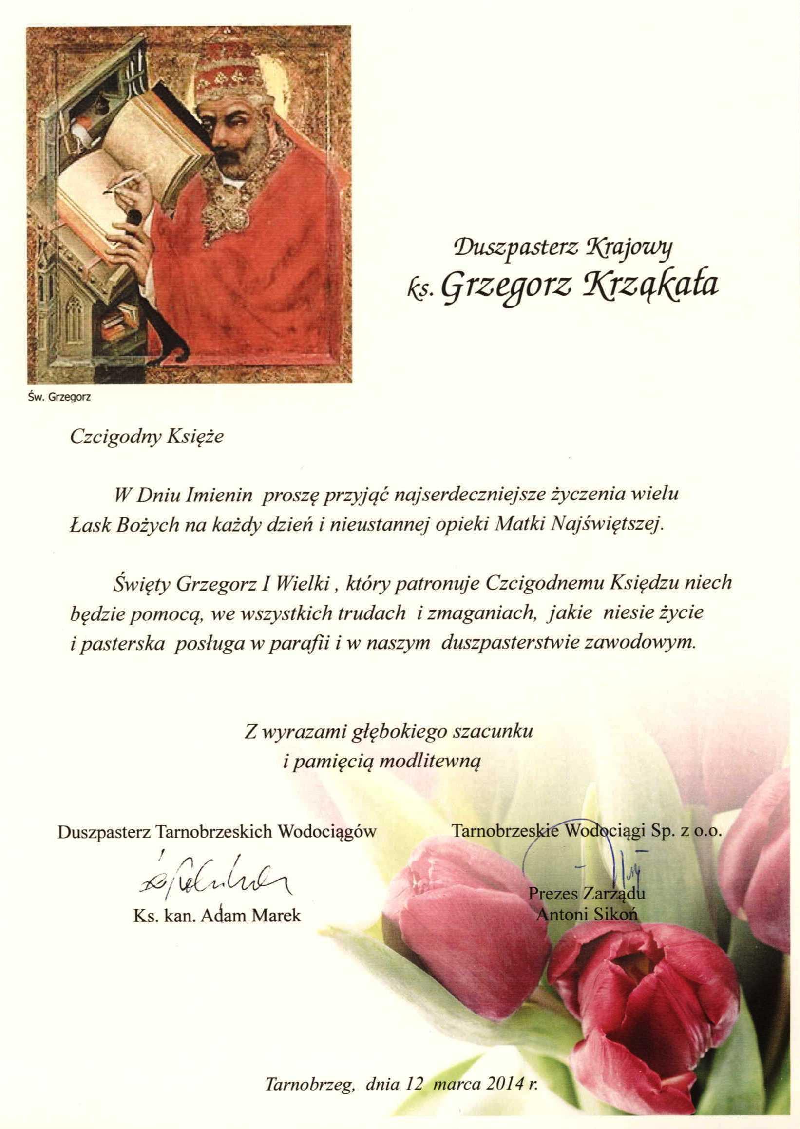 Urodzinowe życzenia Dla Ks Grzegorza Krajowe
