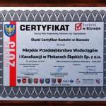 Certyfikat potwierdzający  otrzymanie nagrody.