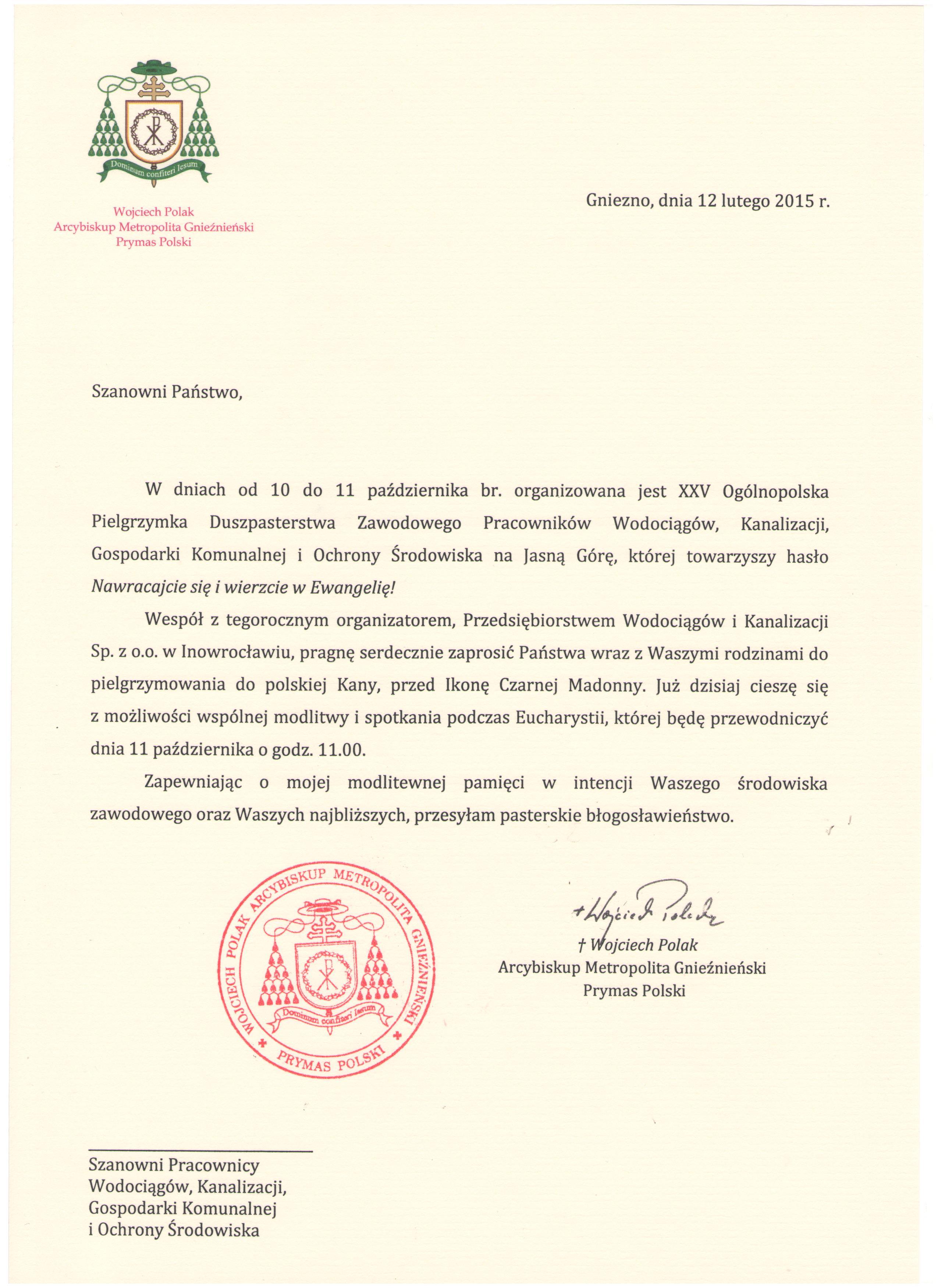 Zaproszenie Prymasa