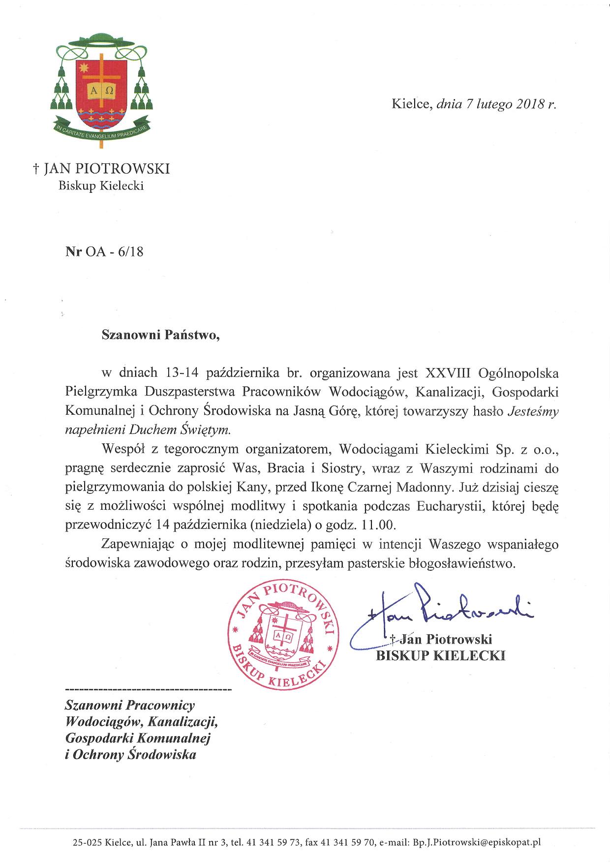 Pismo do Pracowników Wodociągów 2018